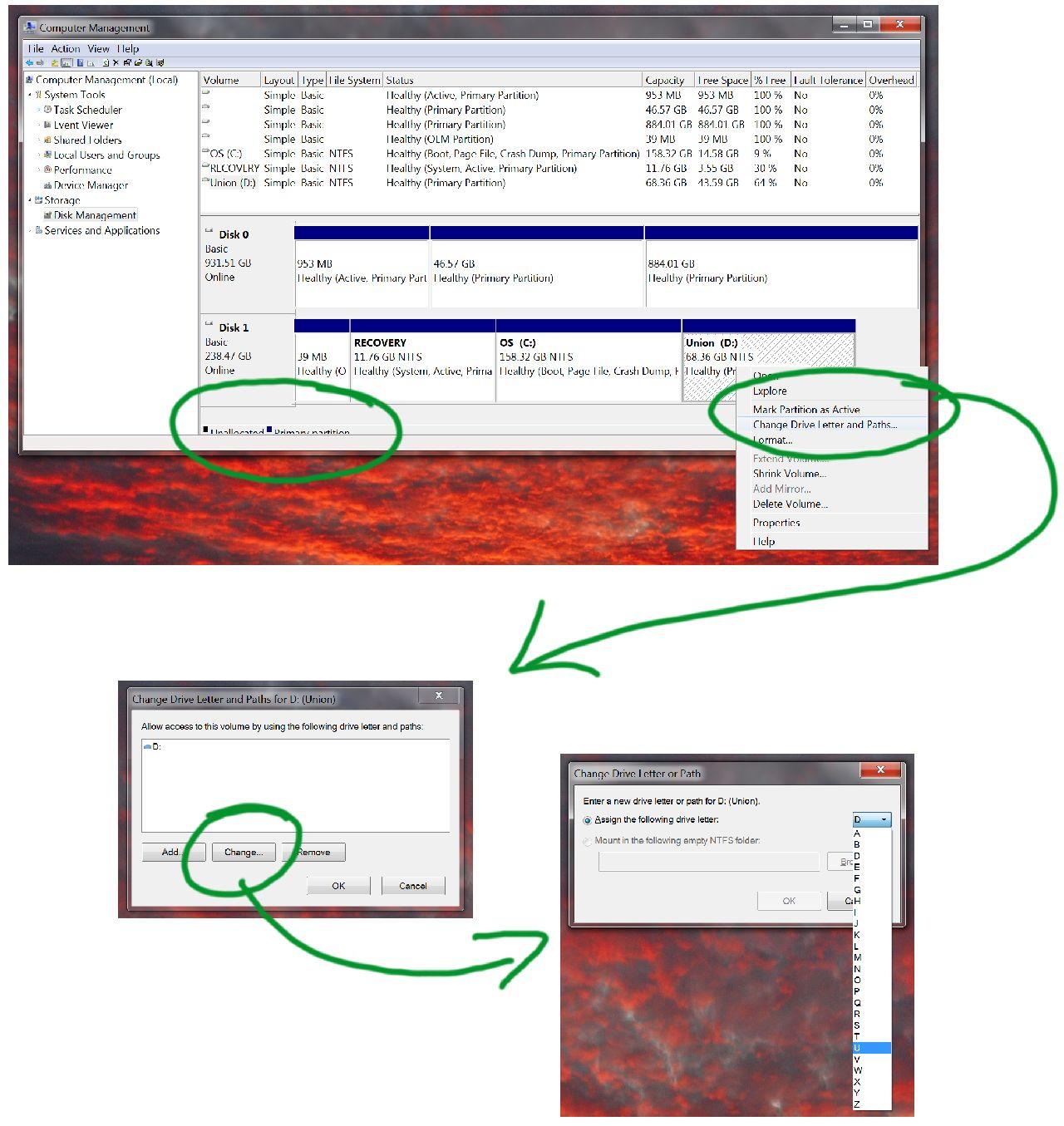 Windows change-drive letter