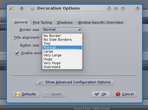 KDE windows border options
