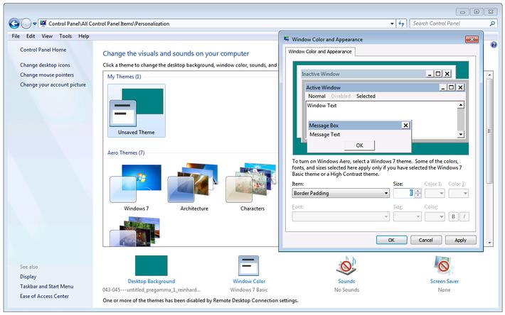 Windows 7 window border options